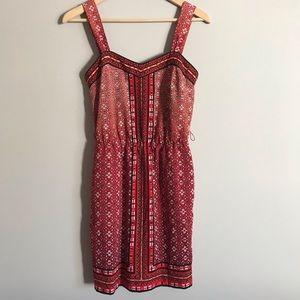 WHBM red patterned mini tank dress